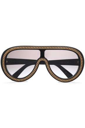 STELLA McCARTNEY Aviator-style gold-tone acetate sunglasses