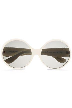 SAINT LAURENT Aviator-style gold-tone acetate sunglasses