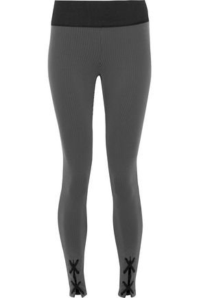 KORAL Lace-up ribbed-knit leggings