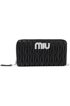 MIU MIU Embellished quilted leather continental wallet