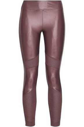 KORAL Stilt mesh-paneled coated stretch leggings