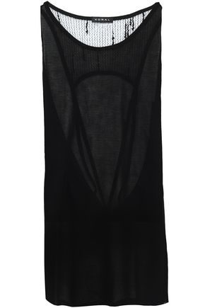 KORAL Cutout mesh and jersey tank