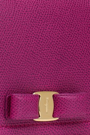 SALVATORE FERRAGAMO Bow-embellished textured-leather wallet