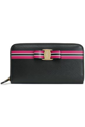 SALVATORE FERRAGAMO Bow-embellished striped leather wallet
