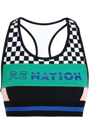P.E NATION プリント ストレッチジャージー スポーツブラ
