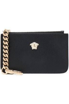 VERSACE Embellished textured-leather pouch