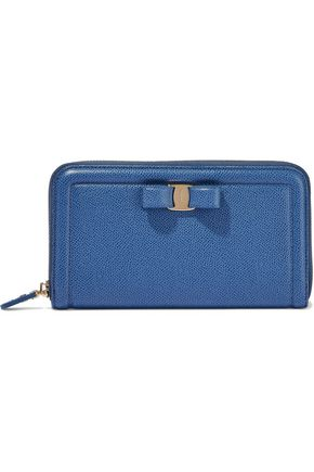 SALVATORE FERRAGAMO Bow-embellished textured-leather continental wallet