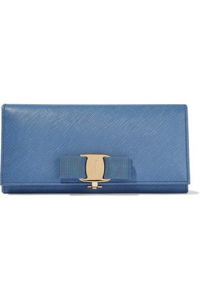SALVATORE FERRAGAMO Vara bow-embellished textured-leather continental wallet