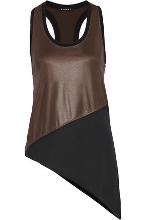 KORAL Trail asymmetric coated-scuba and stretch-jersey tank