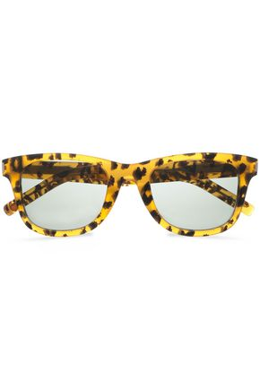 SAINT LAURENT Square-framed animal-print acetate sunglasses