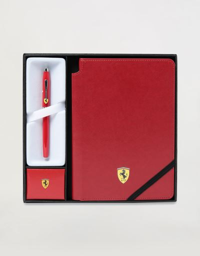 Cross Century II Scuderia Ferrari gift set comprising rollerball pen and red faux leather notepad