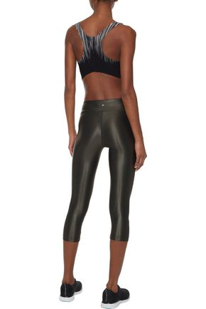 KORAL Lustrous cropped coated stretch leggings