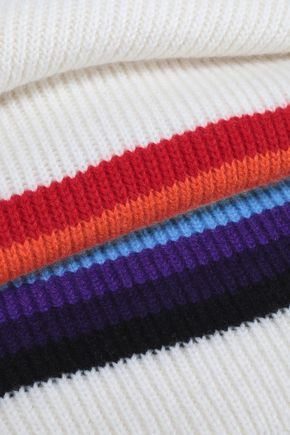 MADELEINE THOMPSON Striped intarsia-knit wool and cashmere-blend scarf
