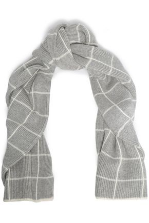 MADELEINE THOMPSON Intarsia-knit wool and cashmere-blend scarf