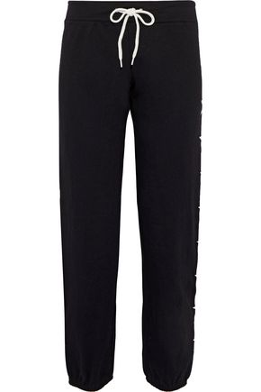 MONROW Embroidered cotton-fleece track pants