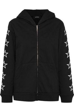 MONROW Oversized embroidered cotton-fleece hoodie