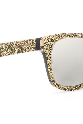 SAINT LAURENT D-frame glittered acetate sunglasses