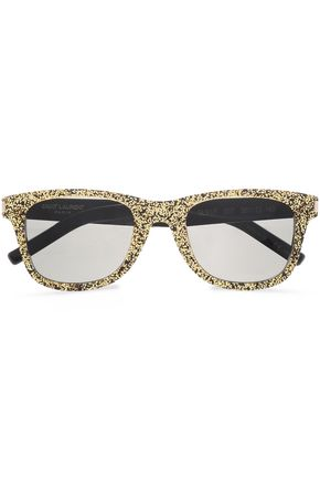 SAINT LAURENT D-frame glittered acetate sunglasses