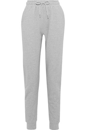 IRIS & INK Mélange French cotton-blend terry track pants