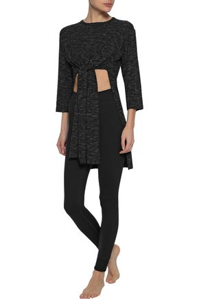 PEPPER & MAYNE Tie-front asymmetric mélange ribbed-knit top