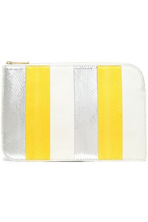 DIANE VON FURSTENBERG Paneled leather and watersnake pouch