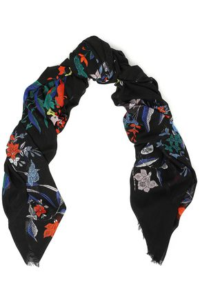 DIANE VON FURSTENBERG Floral-print shell backpack cotton and modal-blend gauze scarf