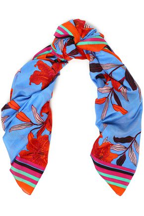 DIANE VON FURSTENBERG Floral-print cotton and silk-blend scarf