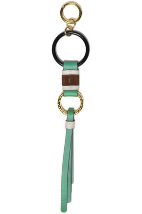 DIANE VON FURSTENBERG Gold-tone and leather keychain