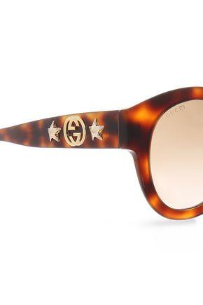 GUCCI Round-frame embellished  tortoiseshell acetate sunglasses