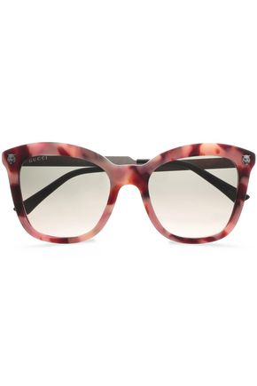 GUCCI D-frame printed acetate and silver-tone sunglasses