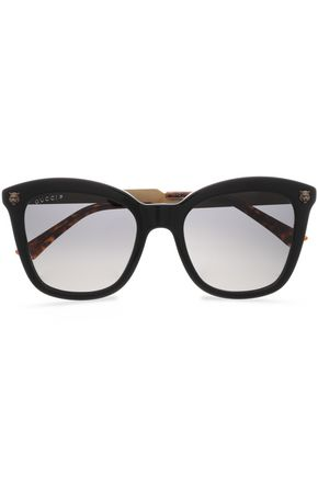GUCCI D-frame acetate and burnished gold-tone sunglasses