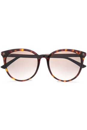 GUCCI Round-frame tortoiseshell acetate and burnished gold-tone sunglasses