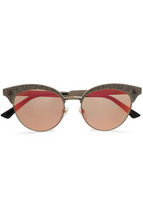 5824877332f GUCCI Cat-eye printed gold-tone mirrored sunglasses