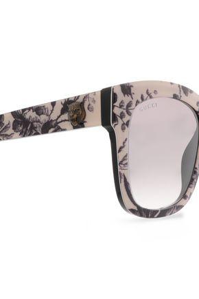 GUCCI D-frame floral-print acetate sunglasses