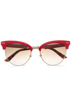 GUCCI Clubmaster acetate and gold-tone sunglasses