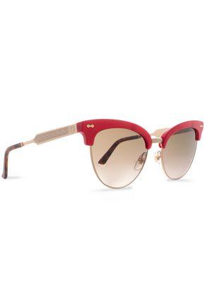 GUCCI Clubmaster acetate and gold-tone sunglasses