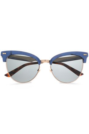 GUCCI Clubmaster printed acetate and gold-tone sunglasses