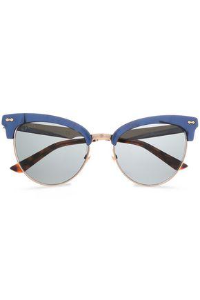 9a5fd9c421374 GUCCI Clubmaster printed acetate and gold-tone sunglasses