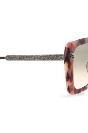 GUCCI Square-frame marbled acetate and burnished silver-tone sunglasses