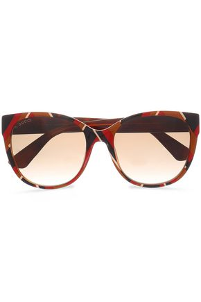 GUCCI D-frame striped acetate sunglasses