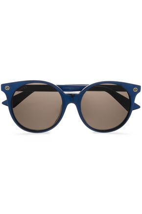 GUCCI Round-frame marbled acetate sunglasses