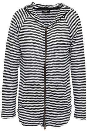 PEPPER & MAYNE Fine Gauge striped crochet-knit hoodie