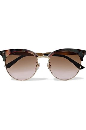 GUCCI D-frame embellished tortoiseshell acetate and gold-tone sunglasses