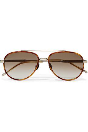 BOTTEGA VENETA Aviator-style tortoiseshell acetate and silver-tone sunglasses