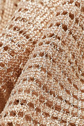 CHLOÉ Fringed metallic open-knit scarf