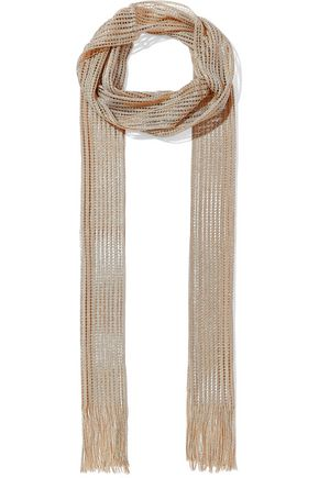 CHLOÉ Fringed metallic open-knit scarf