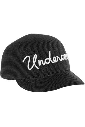 Eugenia Kim  EUGENIA KIM WOMAN BO EMBROIDERED WOVEN BASEBALL CAP BLACK