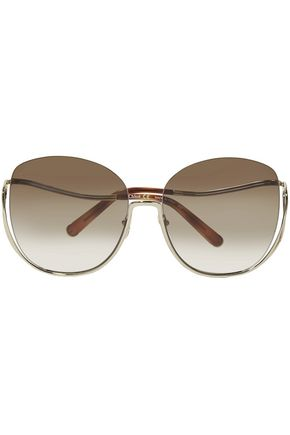 CHLOÉ   Chloé Milla Square-Frame Gold-Tone Sunglasses   Goxip