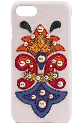 DOLCE & GABBANA Embellished ayers-appliquéd textured-leather iPhone 7 case