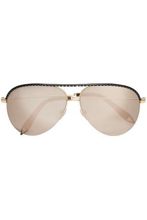 VICTORIA BECKHAM Classic Victoria aviator-style metal mirrored sunglasses